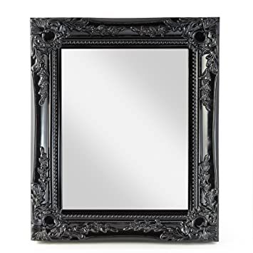 f0596eedfc elbmoebel Wall mirror shabby chic antique style ornate black silver white -  large 33x27x3 cm (