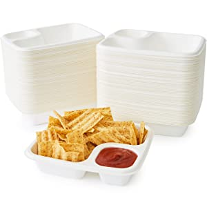 Leak Proof, Compostable Bagasse Nacho Trays 100 Pk. Large, 2 Compartment Serving Tray is Biodegradable and Microwave Safe. Heavy Duty, Divided Holder for Snacks, Nachos and Cheese or Chips and Salsa