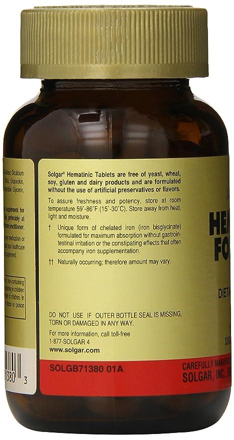 Solgar Fórmula Hematínica Comprimidos - Envase de 100: Amazon.es: Salud y cuidado personal