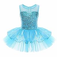 YiZYiF Enfant Filles Justaucorps Danse Tutu T shirt Paillettes Sans Manches 4-8 Ans