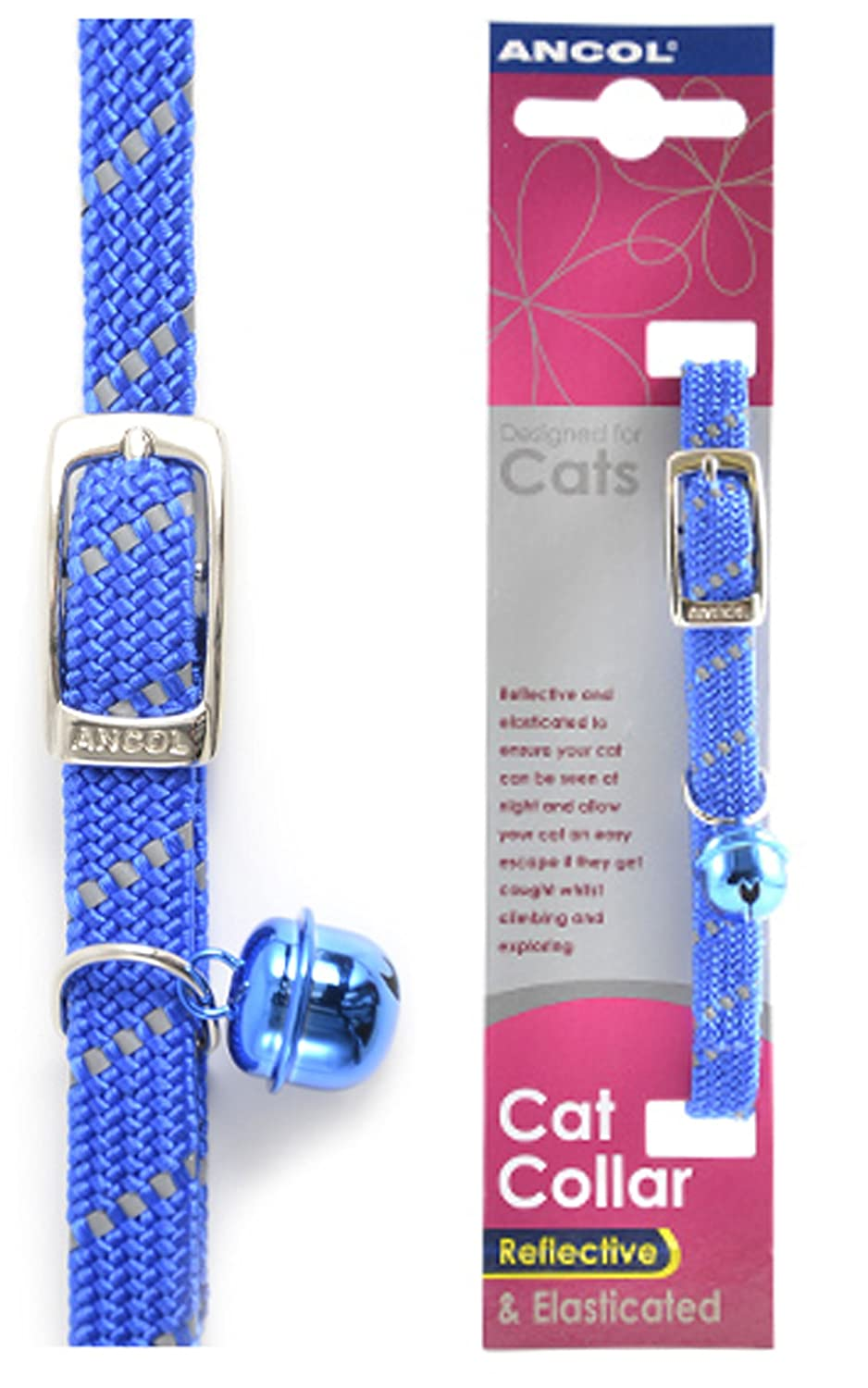 Ancol Safety Elastic Cat Collar Softweave Blue x 3