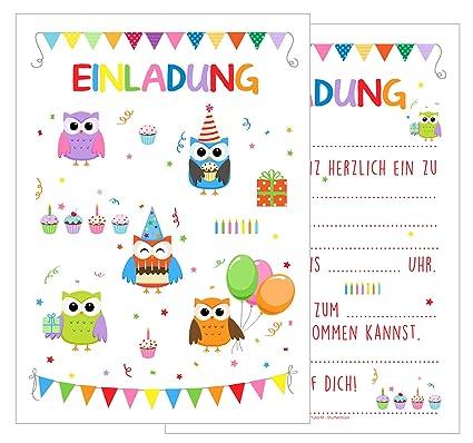 Set 12 tarjetas de invitación Cumpleaños Infantil Búhos ...