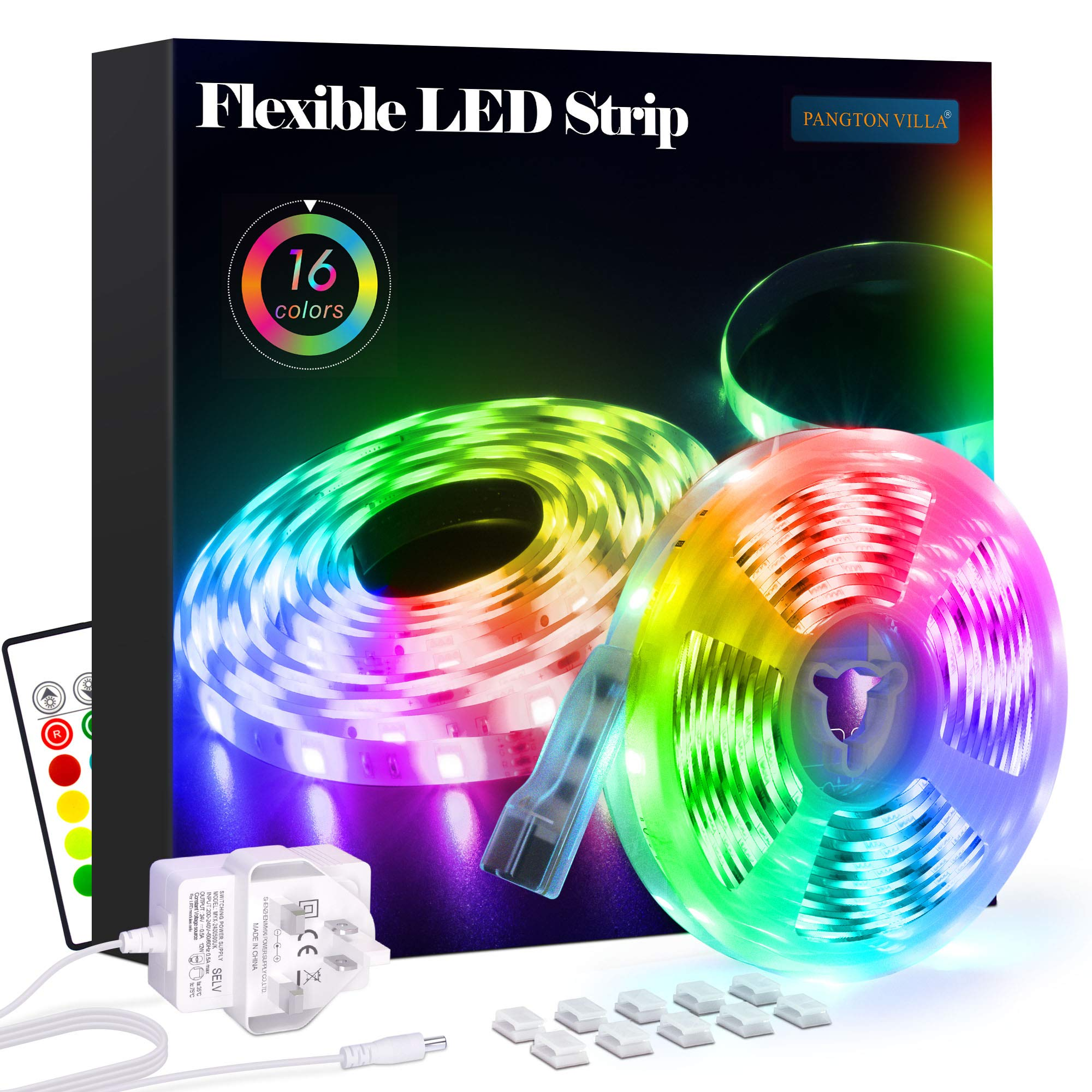 LED Strip Lights 5m, RGB 5050 LEDs Colour Changing Kit with 24key Remote Control and Power Supply, Mood Lighting Led Lights for Bedroom Home Kitchen Christmas Indoor Decoration [Energy Class A+]