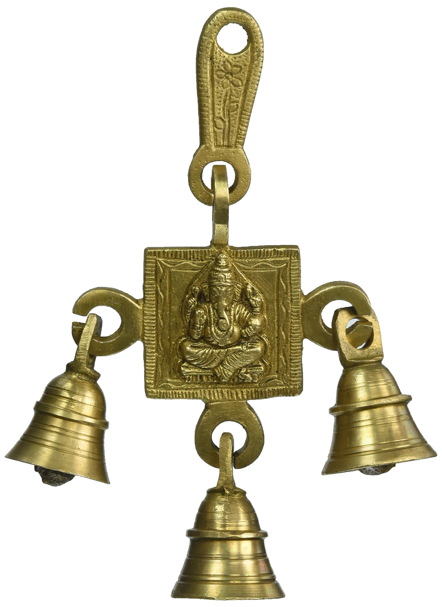 Two Moustaches Brass Ganesha Bells Brown