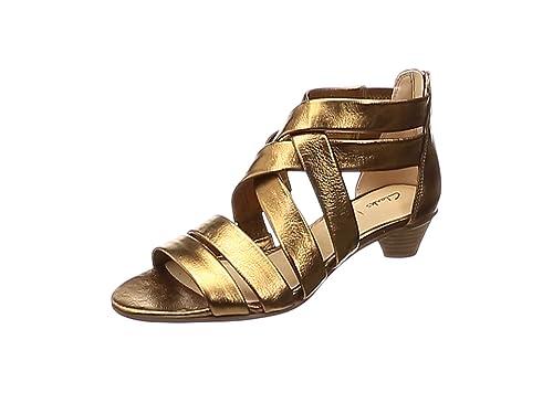 ca073dcbf35 Clarks MENA Silk Leather Sandals in Bronze Metallic Standard Fit Size 6½