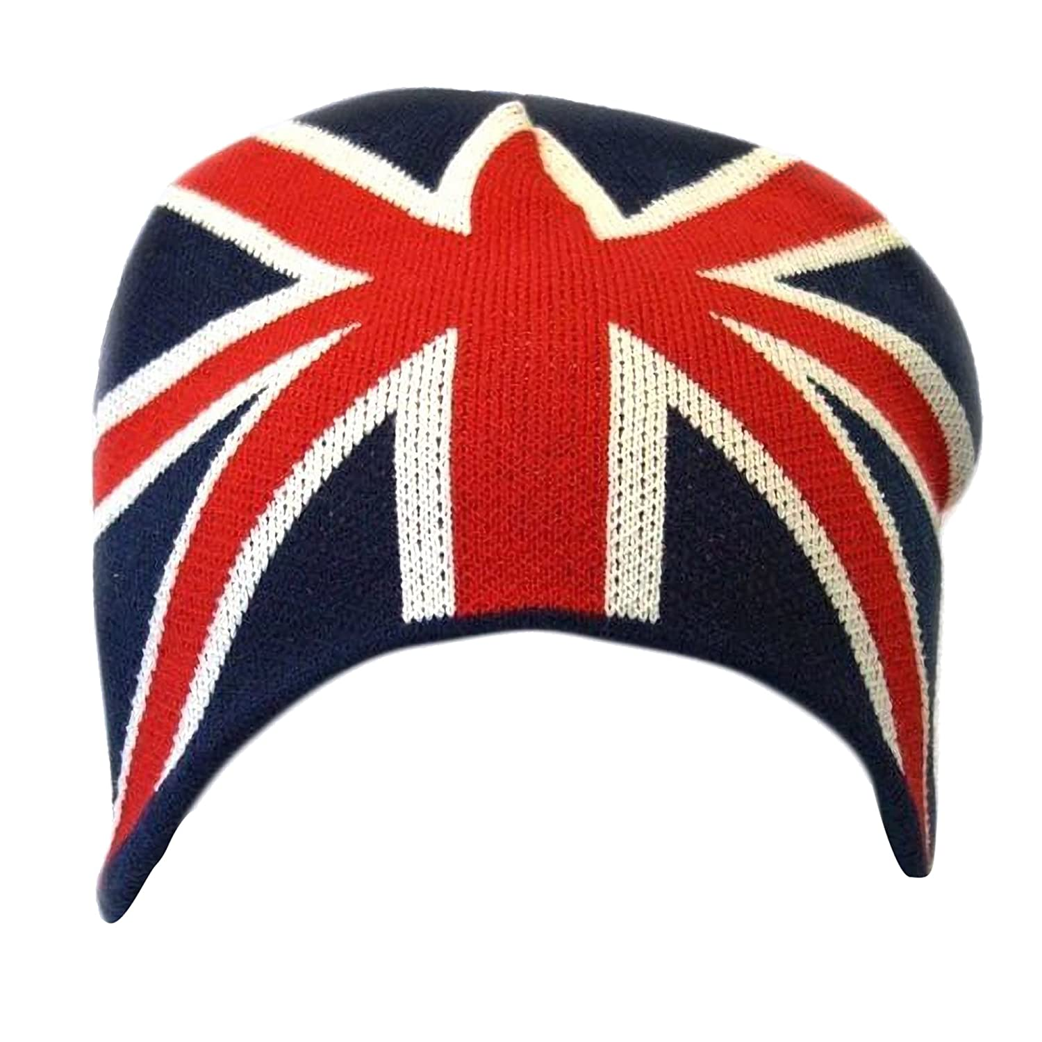 93f014a95557c Amazon.com  Universal Textiles Mens Great Britain Union Jack Flag Winter  Beanie Hat (One Size) (Navy White Red)  Clothing