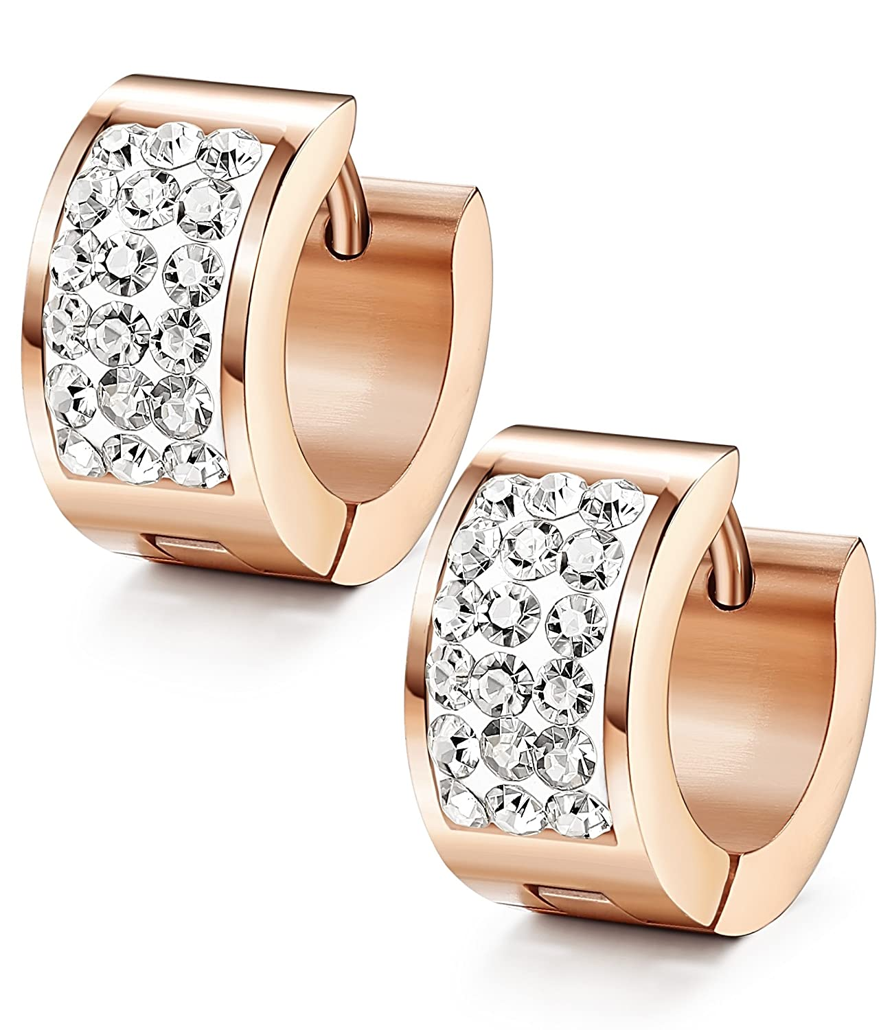 LOYALLOOK 3 Row Crystal Inlaid Stainless Steel Womens Mens Hoop Huggie Earrings TI0508002-W