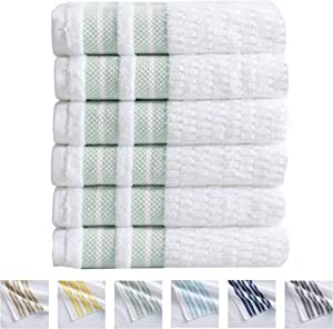 6-Piece Hand Towel Set. 100% Cotton Popcorn Textured Striped Bathroom Towels. Quick Dry and Absorbent Towels. Elham Collection (6 Pack, Eucalyptus)