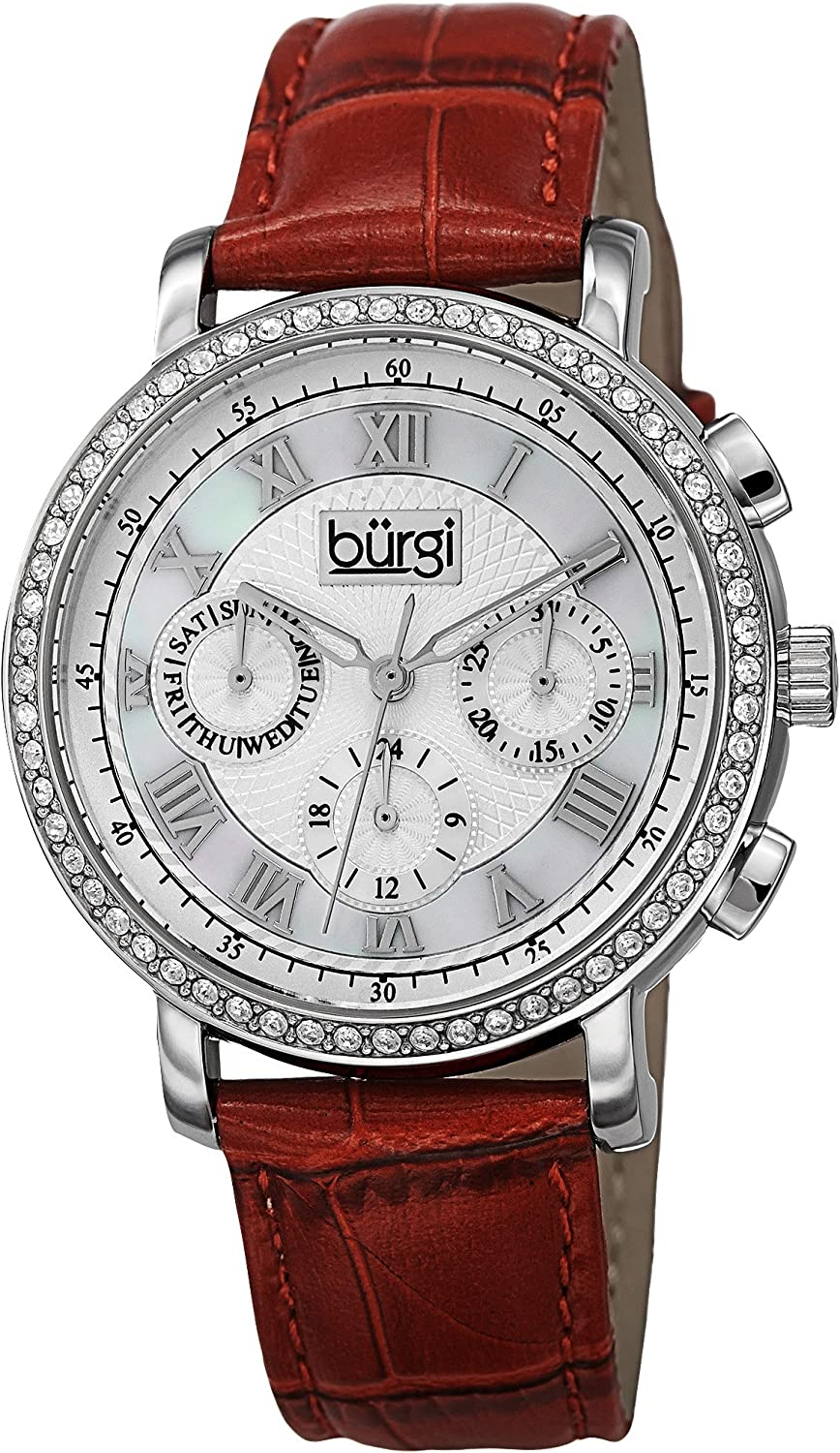 Burgi Women s Malfunction Crystal Watch – 3 Subdials for Day, Date and GMT – Sparkling Crystal on Bezel On Embossed Alligator Pattern Leather – BUR087