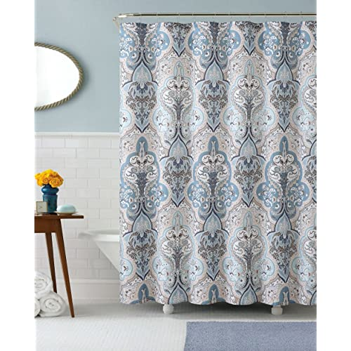 Calais Dobby Fabric Shower Curtain IKat Floral Design Blue Brown White