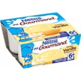 Nestlé Bébé P'tit Gourmand Saveur Vanille - Laitage dès 6 mois - 4 x 100g - Lot de 6