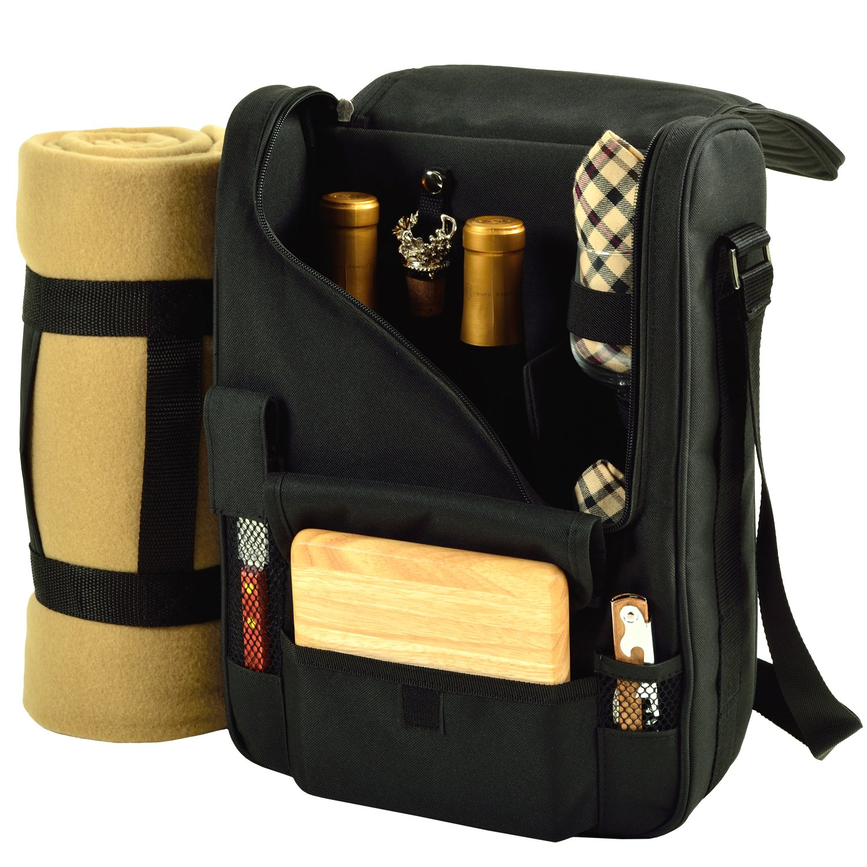CDM product Picnic at Ascot 535X-L Bordeaux-Wine & Cheese Cooler Bag, Black/Plaid big image