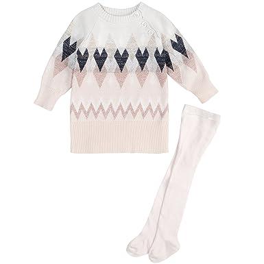 f3fd5b1e84fb0 Amazon.com: Baby Girl Sweater Dress, Cute Geometric Print with Knit ...