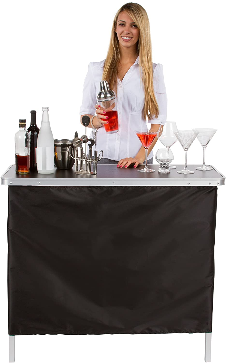 Amazon portable bar table two skirts included by trademark amazon portable bar table two skirts included by trademark innovations green and black skirts kitchen dining watchthetrailerfo