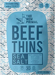 product image for THE NEW PRIMAL Sea Salt Beef Thins, Grass-Fed Beef Jerky, Thinly Sliced, Crunchy, Whole30 Approved, Gluten-Free, High Protein, 1 oz pack, 8 Pack, 90 Calories (8 Bags)