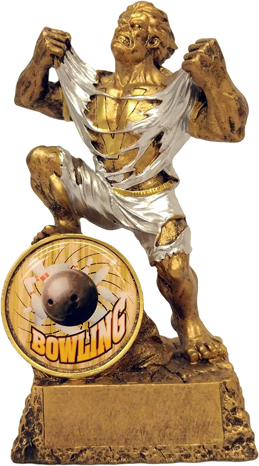 Decade Awards Bowling Monster Trophy - Triumphant Beast Bowler Award - 6.75 Inch Tall - Engraved Plate on Request