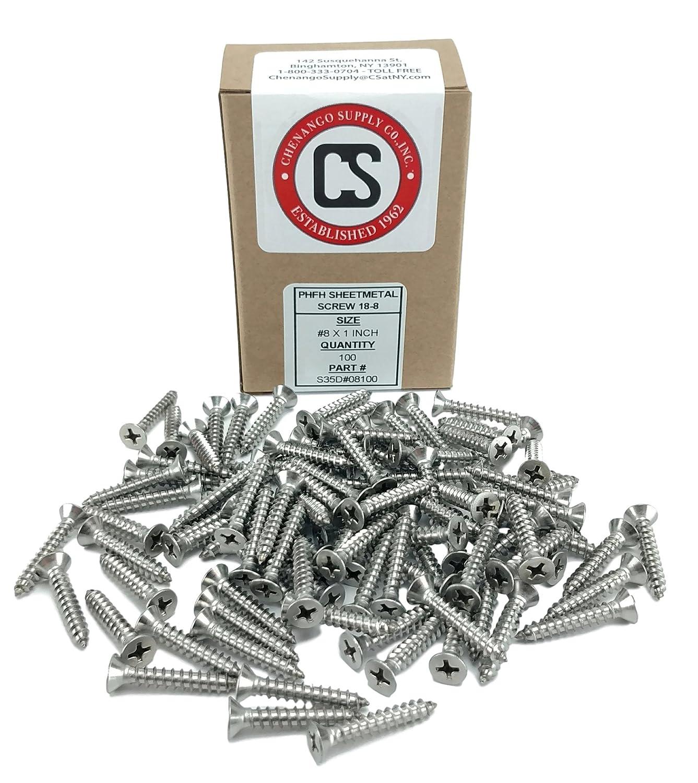 #8 X 1 Stainless Phillips Flat Head Sheetmetal Screw 82 Degrees #8 x 1 100 Sheet Metal Screws 1//2 to 2 in Listing
