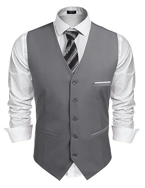 Amazon.com: simbama para hombre Slim Fit cuello en V vestido ...