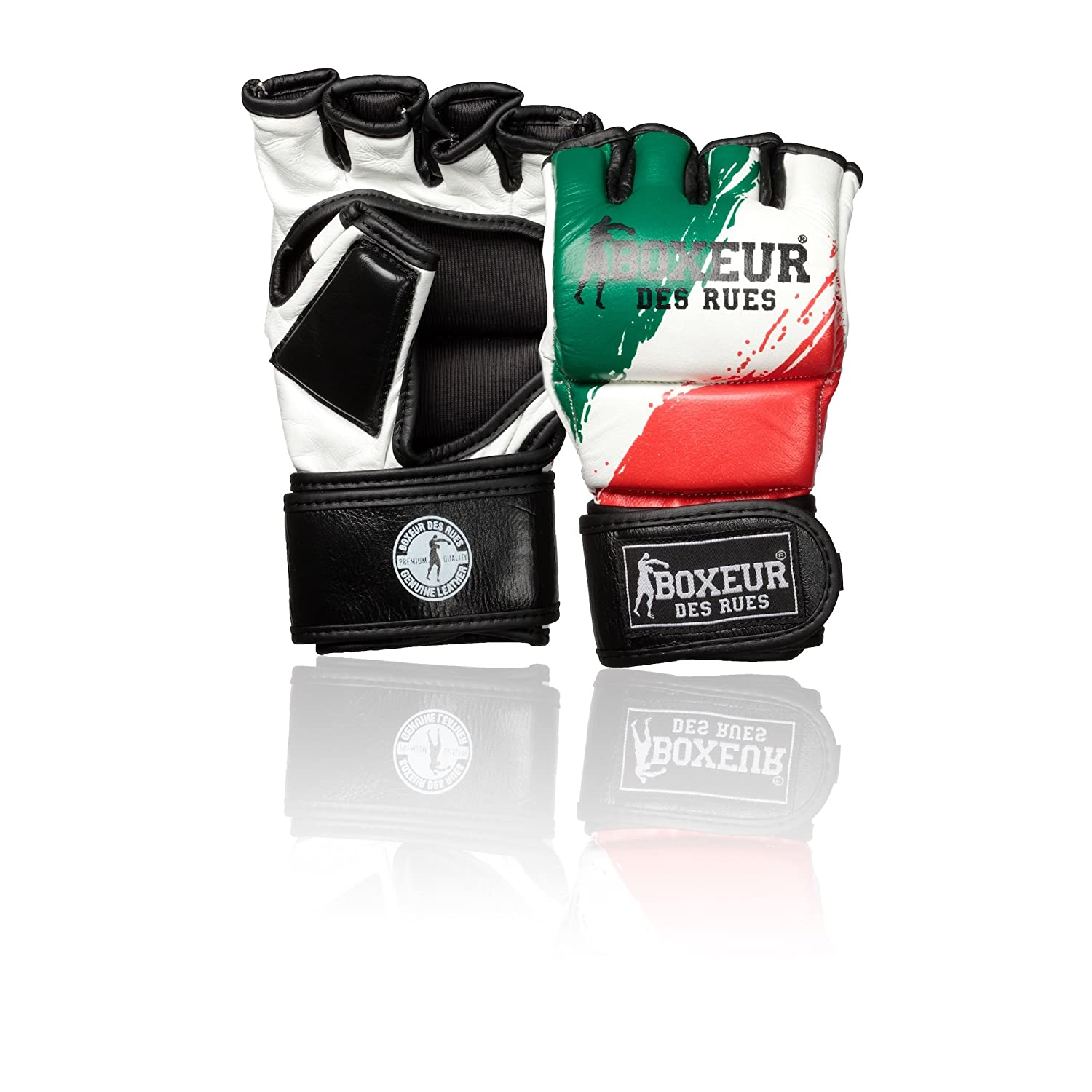 BOXEUR DES RUES Fight Activewear Guanti da MMA Bandiera Italiana in Pelle BXT-5136
