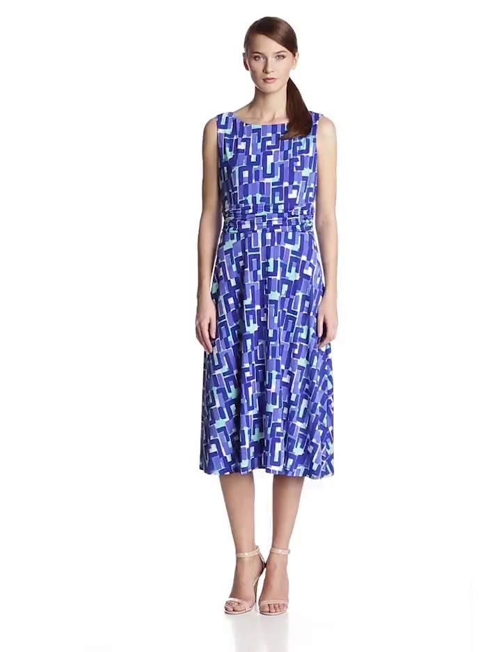 Jessica Howard Womens Sleeveless Ruched Waist Dress