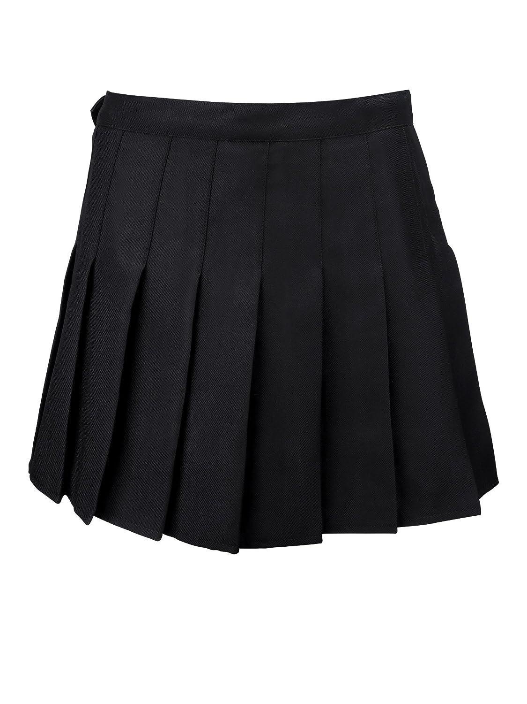 Damen Plissee Vintage Rock Mädchen Klassische Schuluniform Tanz Cosplay Kostüme Seitlichem Reißverschluss, Schwarz