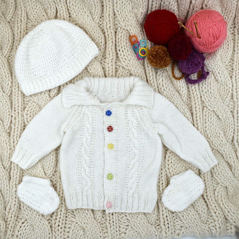 Magic Needles Handmade Knit Baby Boys Infant Newborn Winter Woolen Full Sleeves Sleeveless Sweater Pullover Cardigan
