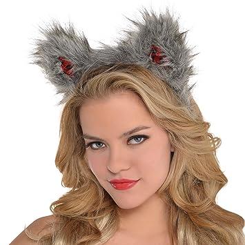 adults furry wolf ears halloween animal little red riding hood faux fur headband fancy dress accessory