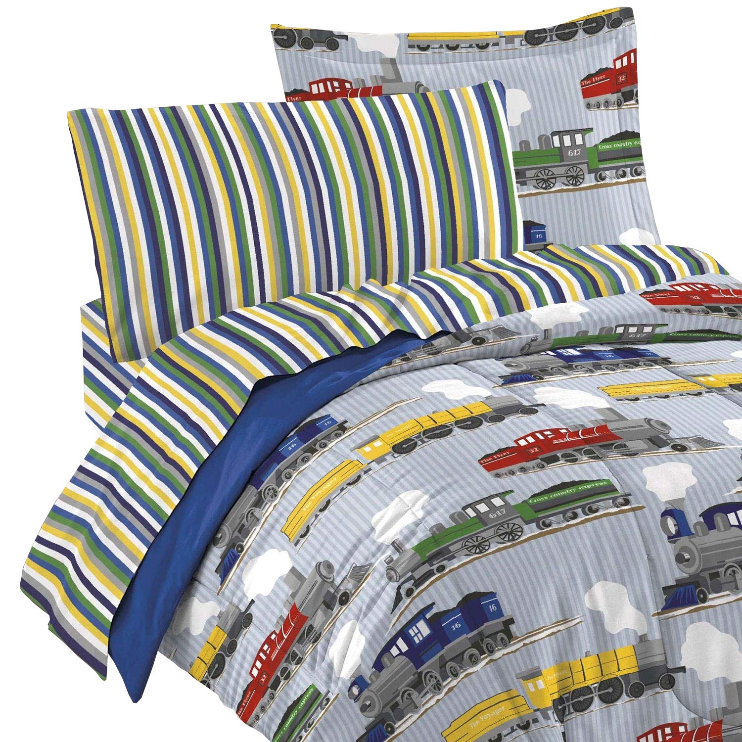 dream FACTORY 4 Piece Trains Bedding Set, Blue, Toddler CHF Industries 2A749000BL