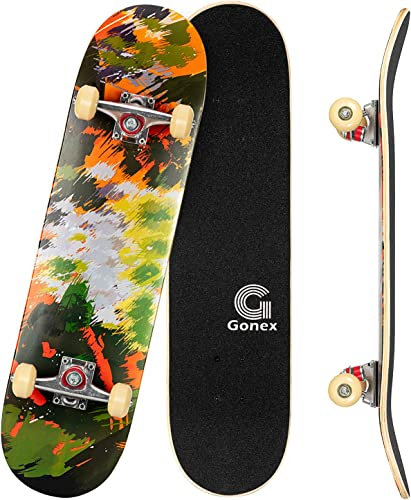 Gonex 31 x 8 Inch Complete Skateboard, 9 Layer Maple Deck Double Kick Deck Concave Cruiser Skateboard for Boys Girls Teens Adults Beginner