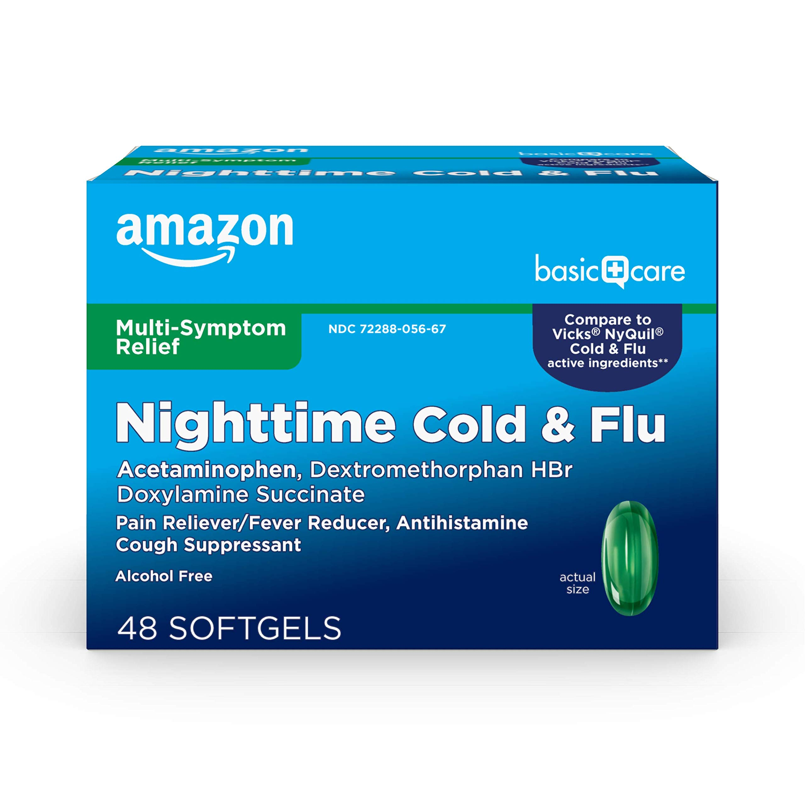 Amazon Basic Care Nite Time Cold Flu Relief Softgels, Pain Reliever, Fever Reducer, Cough Suppressant Antihistamine, 48 Count