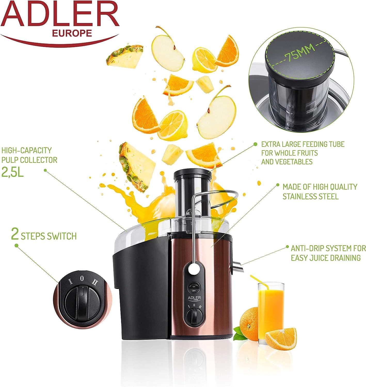 adler AD4123 Licuadora para Frutas y Verduras, 800W, Acero ...