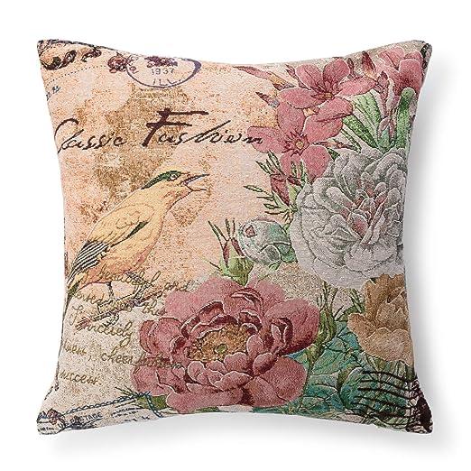Montse Interiors, SL Cuadrante o Cojín Decoración Pájaro y Flores 45x45 + Relleno (TAPESTRI Nº5)
