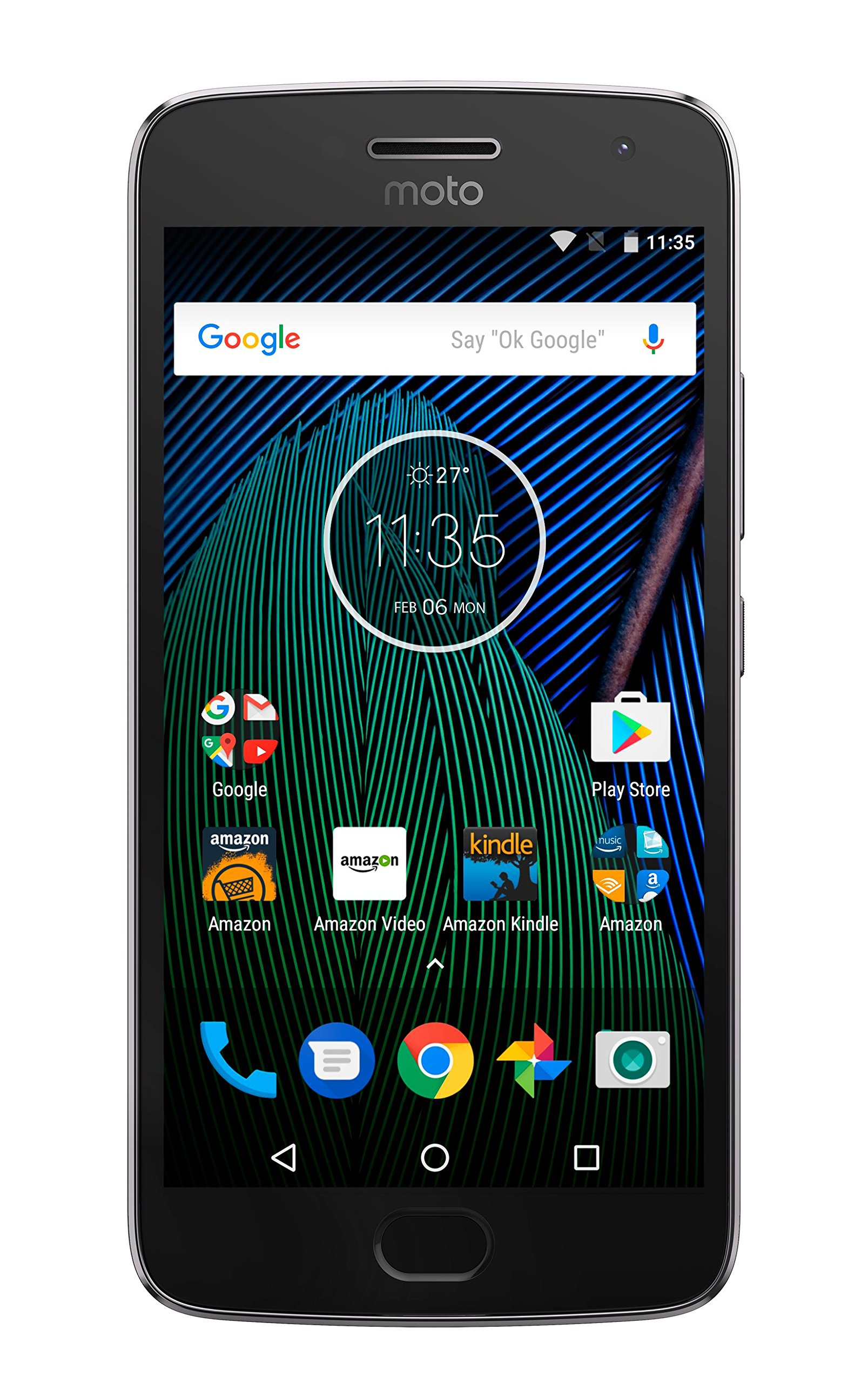 Moto G Plus (5th Generation) - Lunar Gray - 64 GB - Unlocked - Prime Exclusive - with Lockscreen Offers & Ads