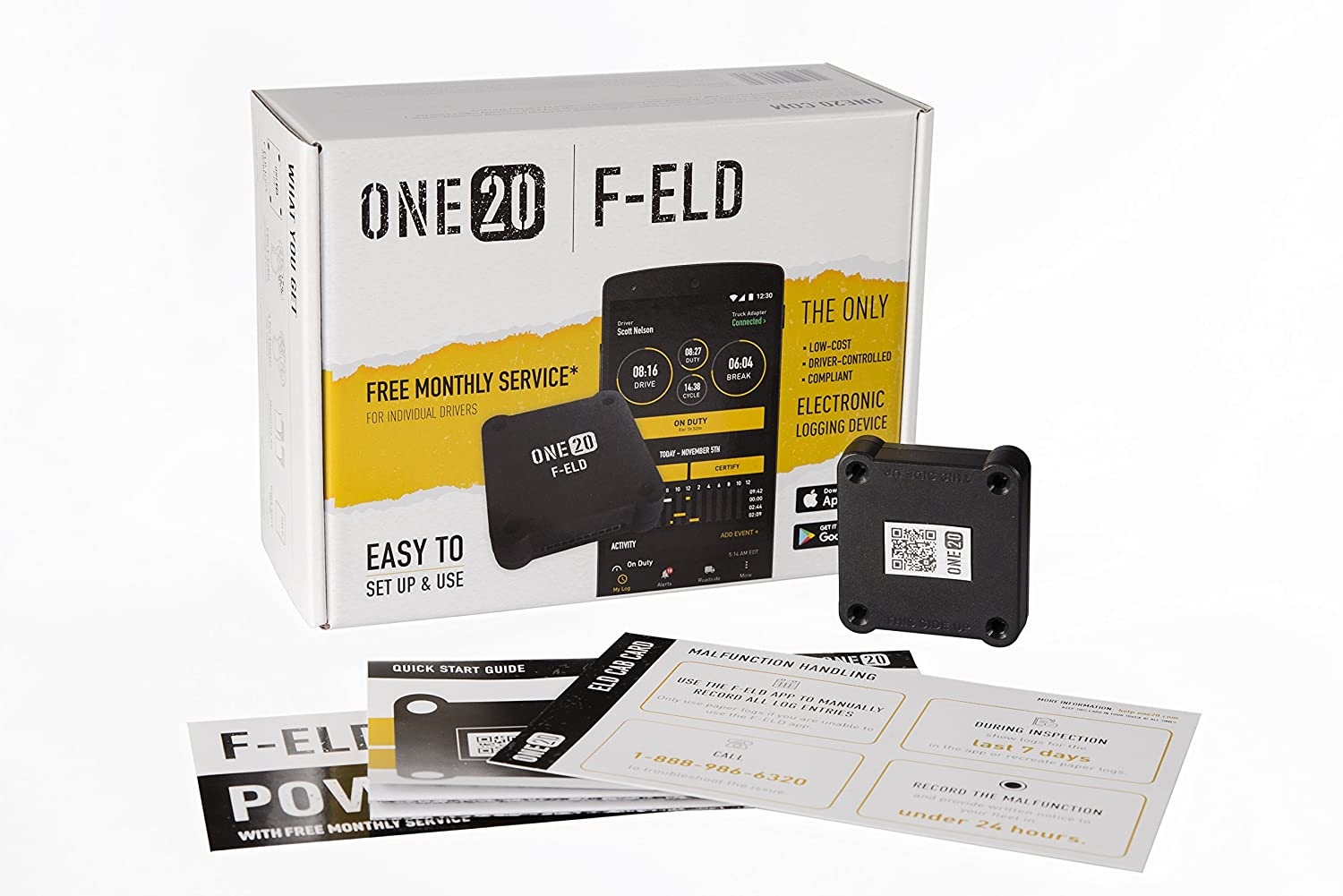 Amazon.com: ONE20 F-ELD Electronic Logging Device (ELD) For Hours Of ...