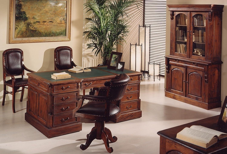 Arredamento Ufficio Classico Prezzi : Scrivania coloniale stile classico in mogano massello con ante e