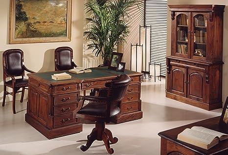 Ufficio Scrivania In Inglese : Scrivania coloniale stile inglese in mogano massello misura 160x80
