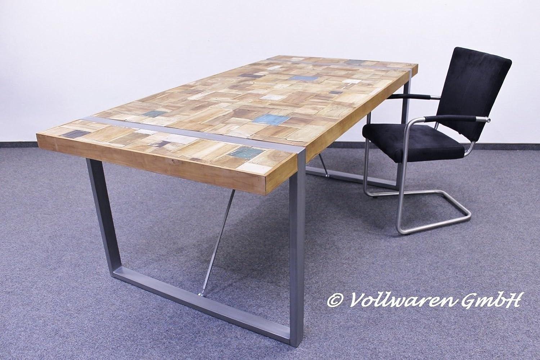 VINTAGE TEAK STAHL ESSTISCH EMPIRIO Teakholz antik oldcoloured Tisch ...