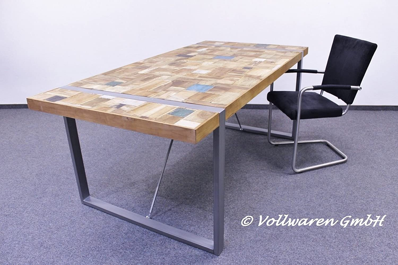 VINTAGE TEAK STAHL ESSTISCH EMPIRIO Teakholz antik oldcoloured Tisch Tafel