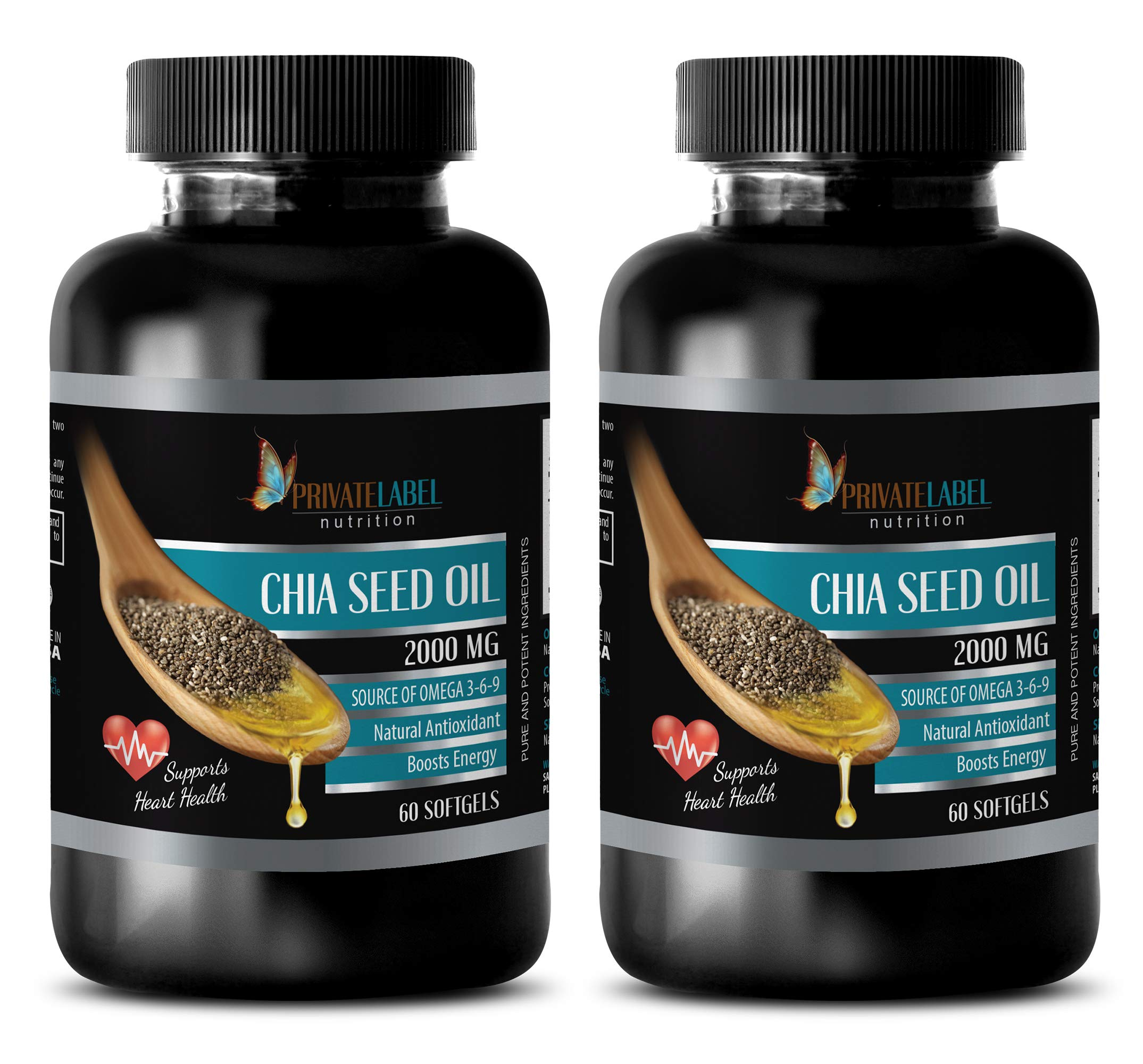 Memory Support Pills - CHIA Seed Oil 2000MG - Source of Omega 3-6-9 - Supports Heart Health - chia Seed Oil Pills - 2 Bottles (120 Softgels)