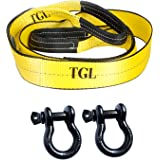 """TGL 3"""" 8' 30,000 lb Capacity Tree Saver Winch Strap with 2-Pack of 3/4"""", 4 3/4T WLL Shackles"""