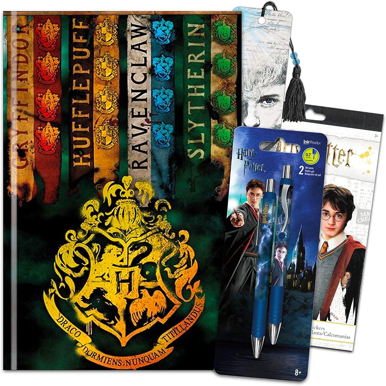 Harry Potter Journal and Pen Bundle Set ~ Premium Harry Potter Diary Notebook, Ballpoint Click Pens, Bookmark and Harry Potter Stickers (Harry Potter Merchandise School Office Supplies)