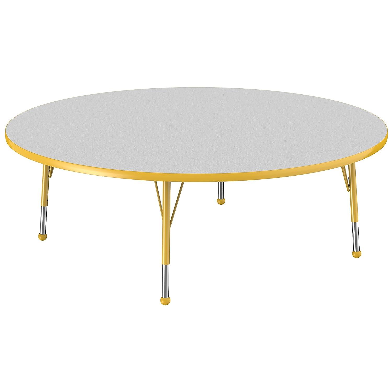 ECR4Kids Everyday T-Mold 60 Round Activity School Table Standard Legs w//Ball Glides Adjustable Height