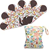Teamoy 6Pcs 11.6 Inches Sanitary pad, Reusable Washable Cloth Menstrual Pads/Panty Liners with Wet Bag, Super-absorbent and Comfortable, Perfect for Heavy Flow or Overnight Use(Large, Birds)