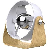 Sharper Image SBS1-SI Ventilador con aspas Suaves, 2 velocidades, Control táctil, Funcionamiento silencioso, Adaptador de Pared de 5 V, Cable USB de 6 pies, Color Blanco/Ceniza