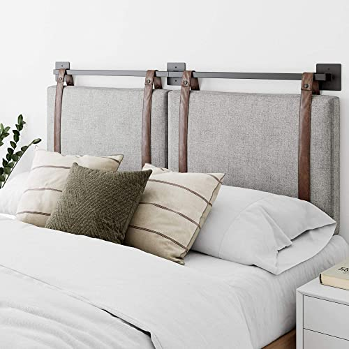 Nathan James Harlow Wall Mount Faux Leather or Fabric Upholstered Headboard