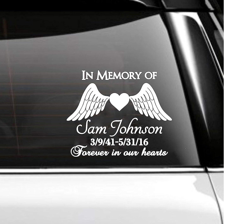 Amazon Com In Memory Of Car Decal Memorial Angel Wings Handmade [ jpg ]