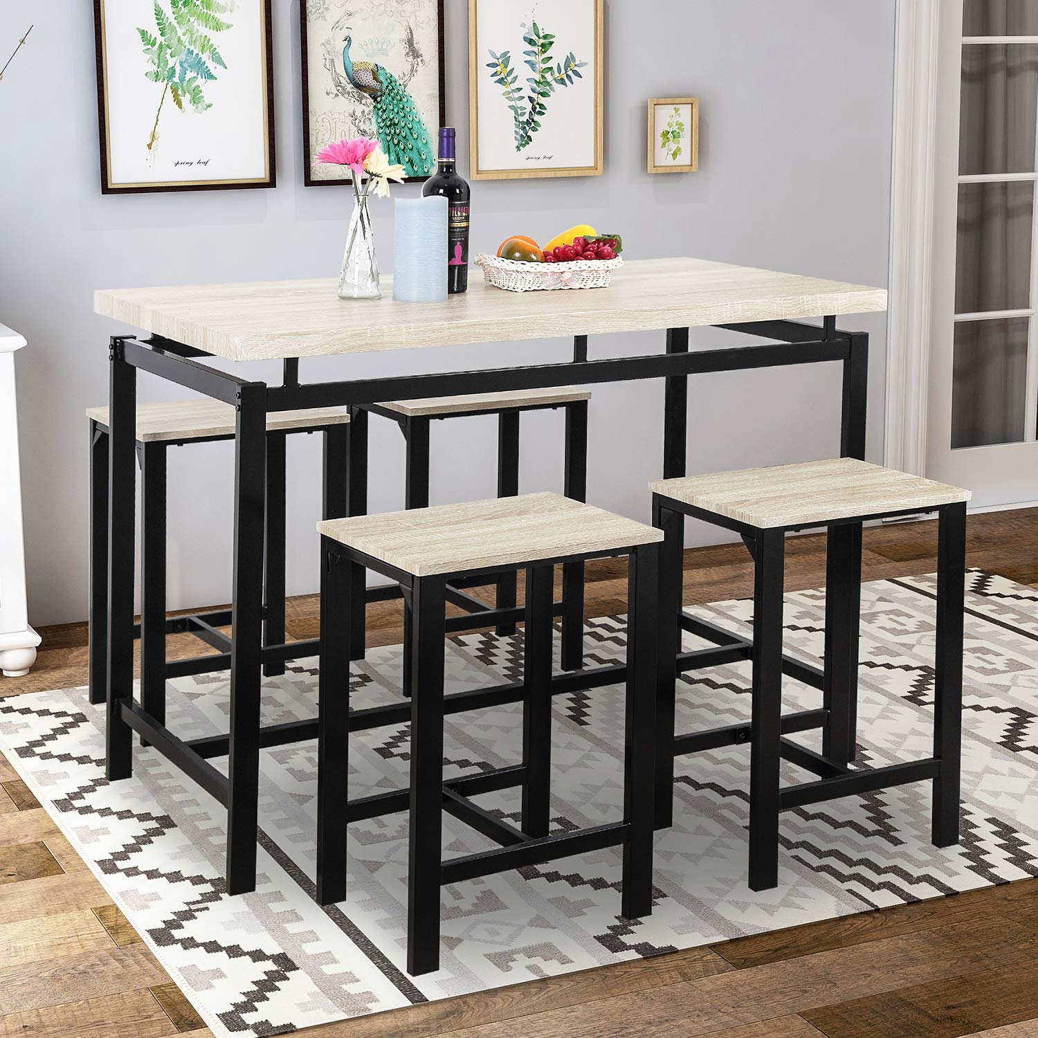 Rockjame 5 Piece Counter Height Pub Table Set with 4 Chairs for The Bar Kitchen Room Dining Room and Living Room Dining Table Set Breakfast Nook Espresso