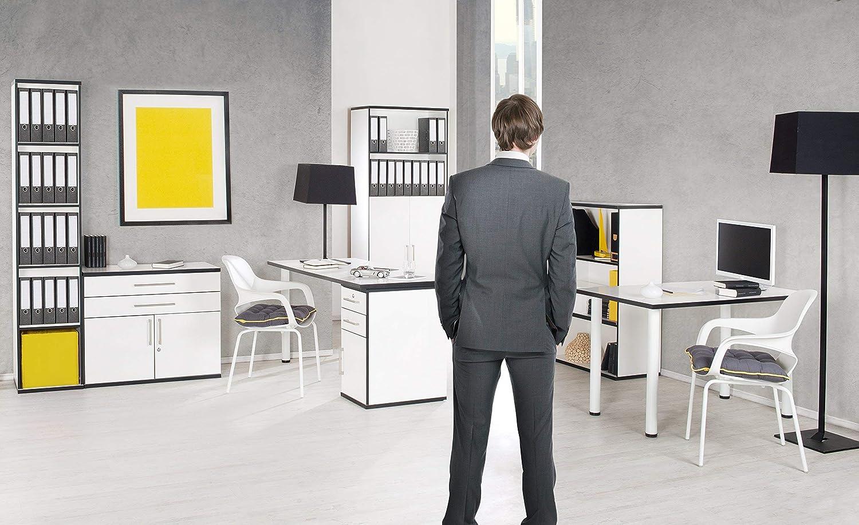 Blanco//Negro Ph/önix Chicago Oficina Mueble bajo con cajones{2} y Puerta{1}