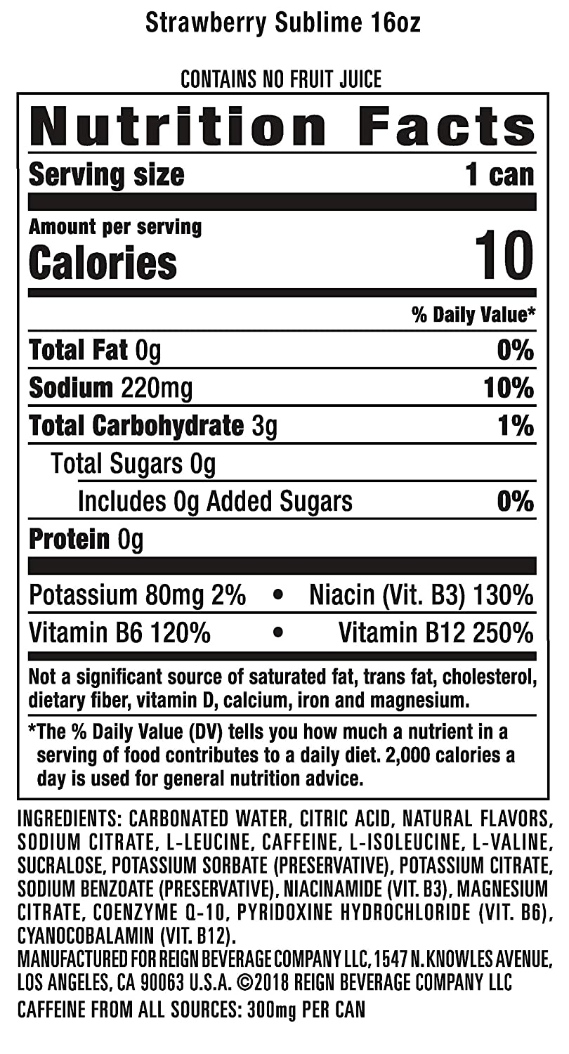 Reign Total Body Fuel, Strawberry Sublime, Fitness & Performance Drink, 16 Oz (Pack of 12) : Grocery & Gourmet Food