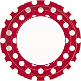Red Polka Dot Paper Plates, 8ct